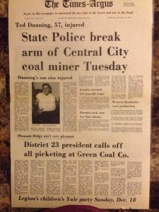 Article about my Grandfather Ted Dunning of Central City, KY, Arm Broken During Strike