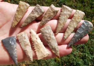 Woodland Era Spearpoints were mixed in with the Roman artifacts.